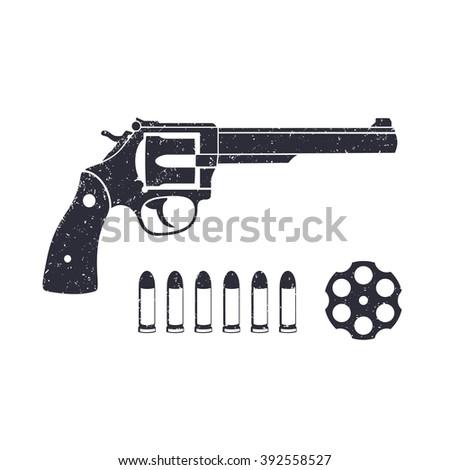 Old revolver, handgun, cartridge, bullets, gun isolated on white, revolver vector illustration - stock vector