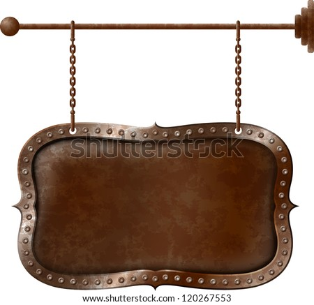 Old rusty metal signboard on the chains - stock vector
