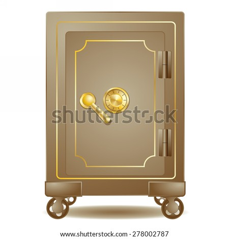 old safe with a combination lock - stock vector