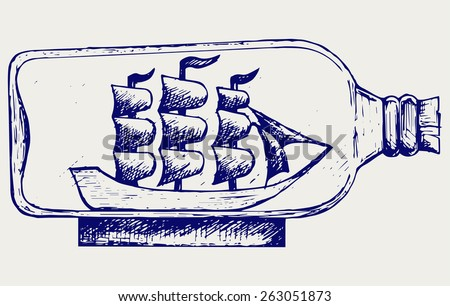 Old sailboat in glass bottle. Doodle style - stock vector