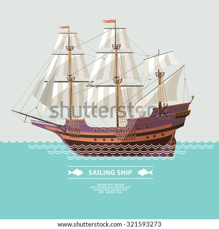 Old sailing ship. Flat design. - stock vector