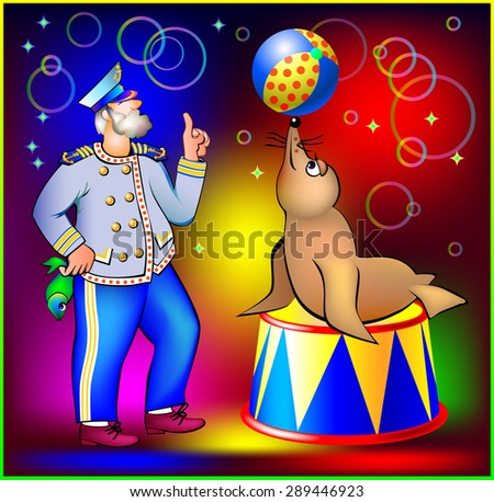 Old sailor training seal to juggle ball,  vector cartoon image - stock vector