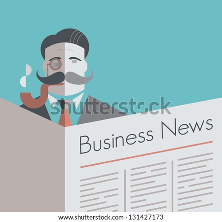 Old school businessman with a monocle and smoking pipe reading Business News newspaper. Vintage style illustration. With copy space for your business text. - stock vector