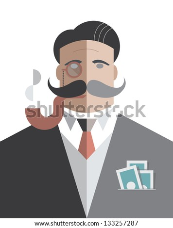 Old school businessman with monocle and smoking pipe with pack of dollars in the pocket - stock vector