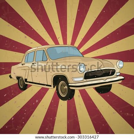 Old School Car. Vector. eps 10 - stock vector