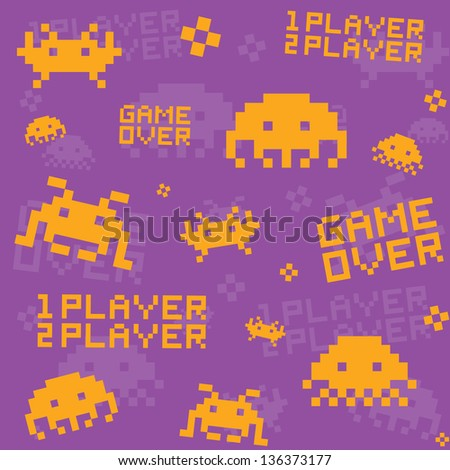 Old school game pattern seamless vector - stock vector