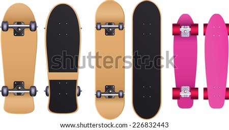Old school Skateboard skate set, with cruiser board, long board, trucks, urethane wheels, bolts, grip tape, skateboard deck, maple deck, maple deck board - stock vector
