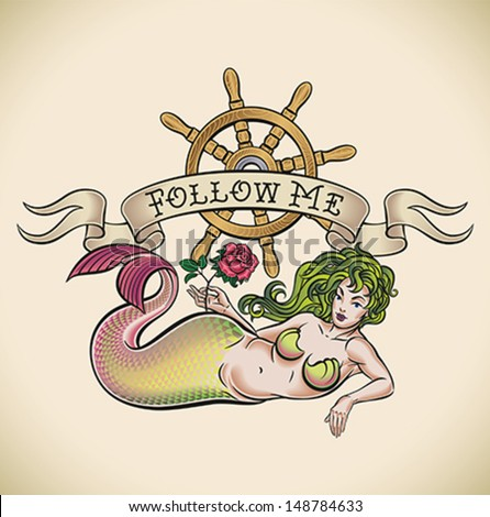 Old-school styled tattoo of a green hair mermaid with a red rose, a nautical steering wheel and a banner. Editable vector illustration. - stock vector