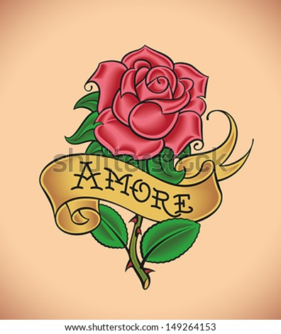 Old-school styled tattoo of a red rose and a banner. Editable vector illustration. - stock vector