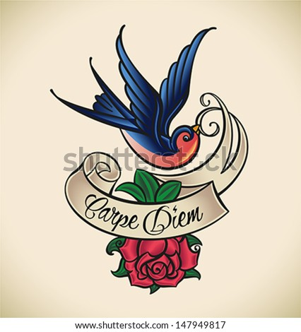 Old-school styled tattoo with a swallow, banner and rose. Editable vector illustration. - stock vector