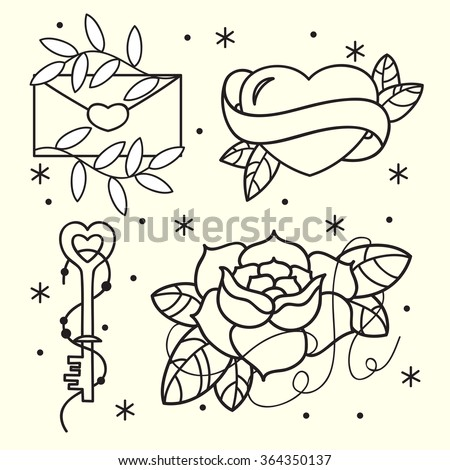 Old school tattoo flash pattern with roses, hearts, birds, keys and arrows. Valentines day or wedding design. Vector illustration - stock vector