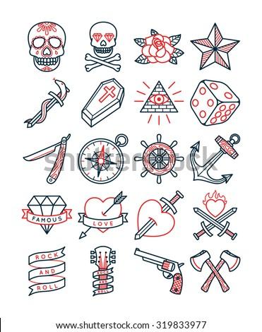Old School Tattoo Set - stock vector