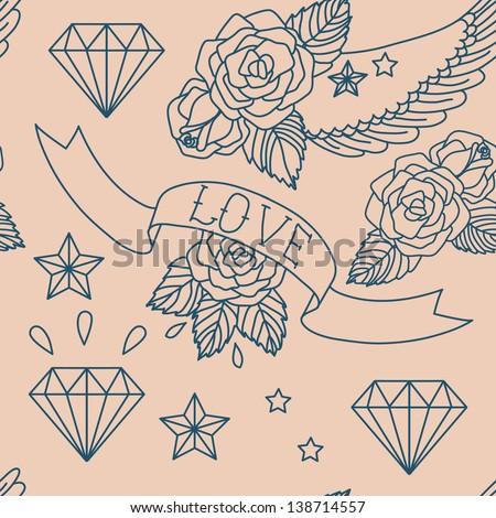 Old school tattoo. Vector seamless pattern. - stock vector