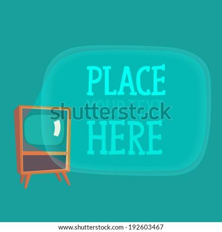 old school TV signboard (banner) background vector illustration, flat style - stock vector