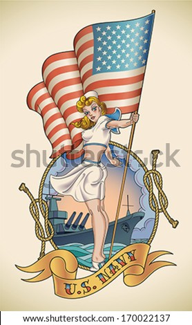 Old-school US Navy tattoo of a sensual pin-up lady with the flag in her hand. Editable vector illustration. - stock vector