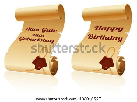 Old Scroll Paper with Sealing Wax and Happy Birthday, template for design - stock vector