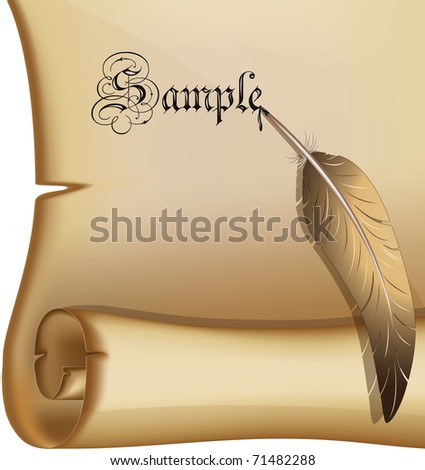 Old scroll with a feather eps10 - stock vector