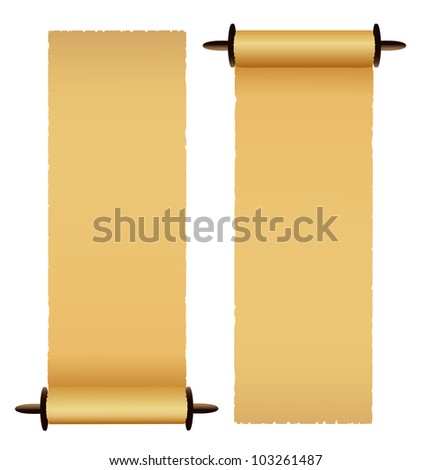 Old scrolls on white background. Vector - stock vector