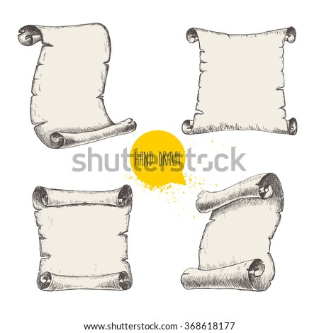 Old scrolls sketch style set on white background. Hand drawn vector illustration. - stock vector