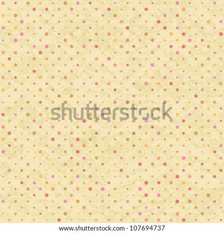 Old Seamless Polka Dot Pattern in Beige Pastel Colors. Vector - stock vector