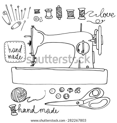 Old sewing machine line drawn on a white background. Scissors, spools of thread, handmade, ball of yarn - stock vector