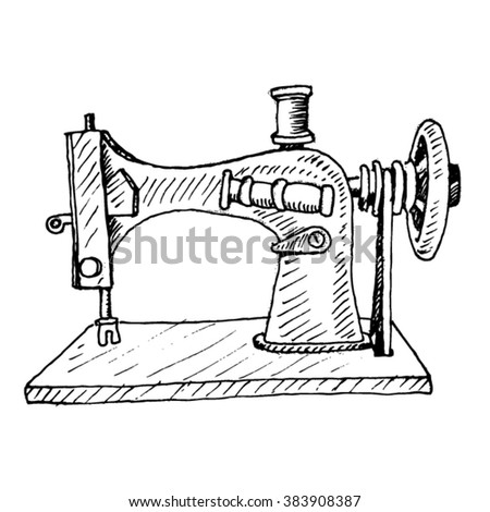 old sewing machine sketch - vector - stock vector