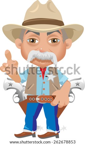 old Sheriff with grey hair in the hat raised a thumb up - stock vector