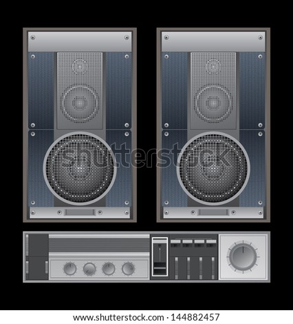 Old sound system - stock vector