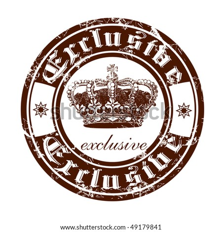 Old stamp from the Gothic word exclusive. - stock vector