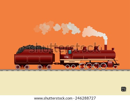 Old steam locomotive , Vector illustration - stock vector