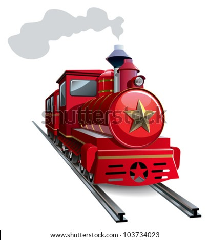 Old steam locomotive with golden star, vector illustration - stock vector