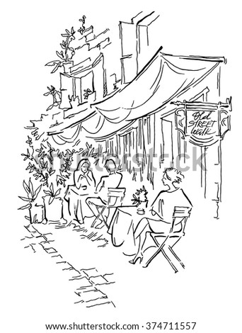 Old street cafe. Vector illustration.  Street of old town. People sitting street cafe.  - stock vector