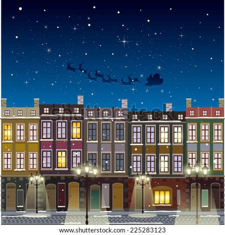 Old street Christmas background at night santa flying - stock vector