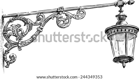 old street lamp - stock vector