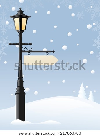 Old street lamp with a sign for the message of your choice. Sign and snow can easily be removed and lamp used on its own. - stock vector