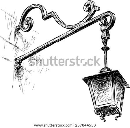 old street light - stock vector