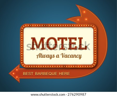 Old style American motel road sign. EPS10 vector illustration of a big motel billboard with a red arrow and light bulbs. - stock vector