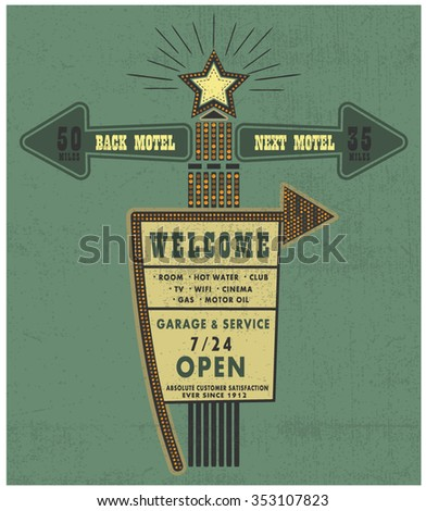 Old style American motel road sign. illustration of a big motel billboard with a red arrow and light bulbs - stock vector