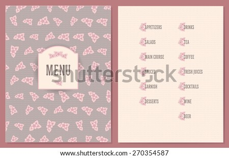 old style decorated menu with flower decorated sections - light pink color flowers on vintage pink color wave background - stock vector