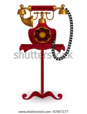 old-style phone on table - stock vector