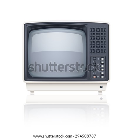 Old style retro tv set icon. Eps10 vector illustration. Isolated on white background - stock vector