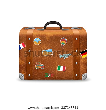 Old style voyage suitcase with travel stickers realistic vector illustration - stock vector
