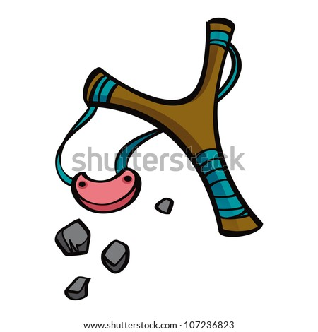 Old style wooden toy or weapon Slingshot with stones - stock vector