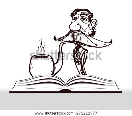 old teacher cartoon with big mustache and smoking big pipe - stock vector