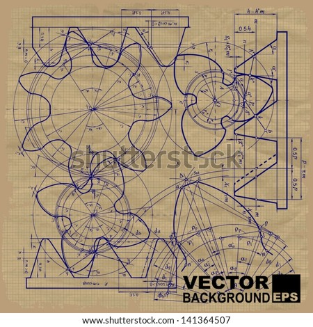 Old technical background, gear on graph paper craft - stock vector