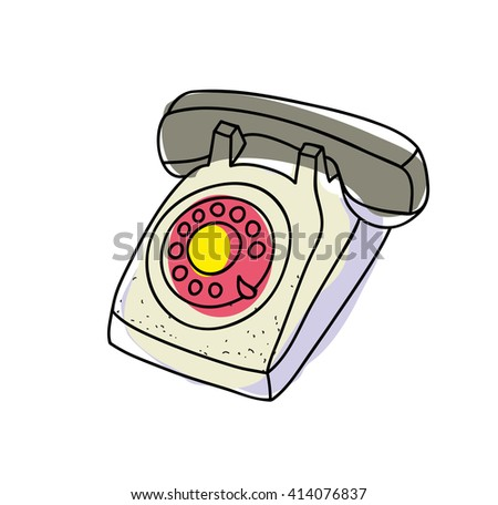 Old telephone. Vector illustration. - stock vector
