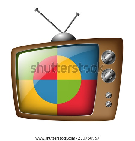 Old television - stock vector