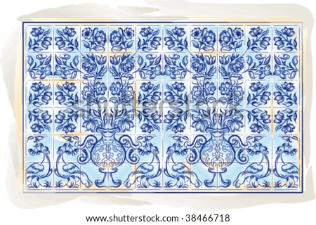 Old tiles color portuguese background, vector illustration - stock vector