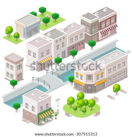 Old town. City buildings, river with the bridge, cafe, hotel and shop. Set of the isometric vector elements. - stock vector