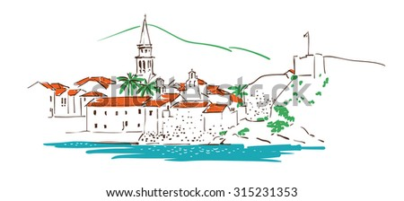 Old town in Budva (Montenegro) in sketch style and isolated on white background. - stock vector